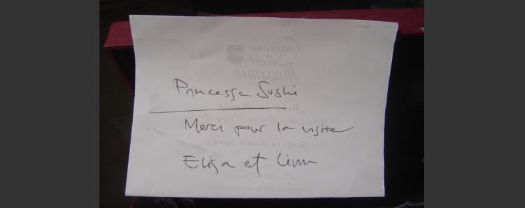 シェフからのメッセージ「princess Sushi…」
